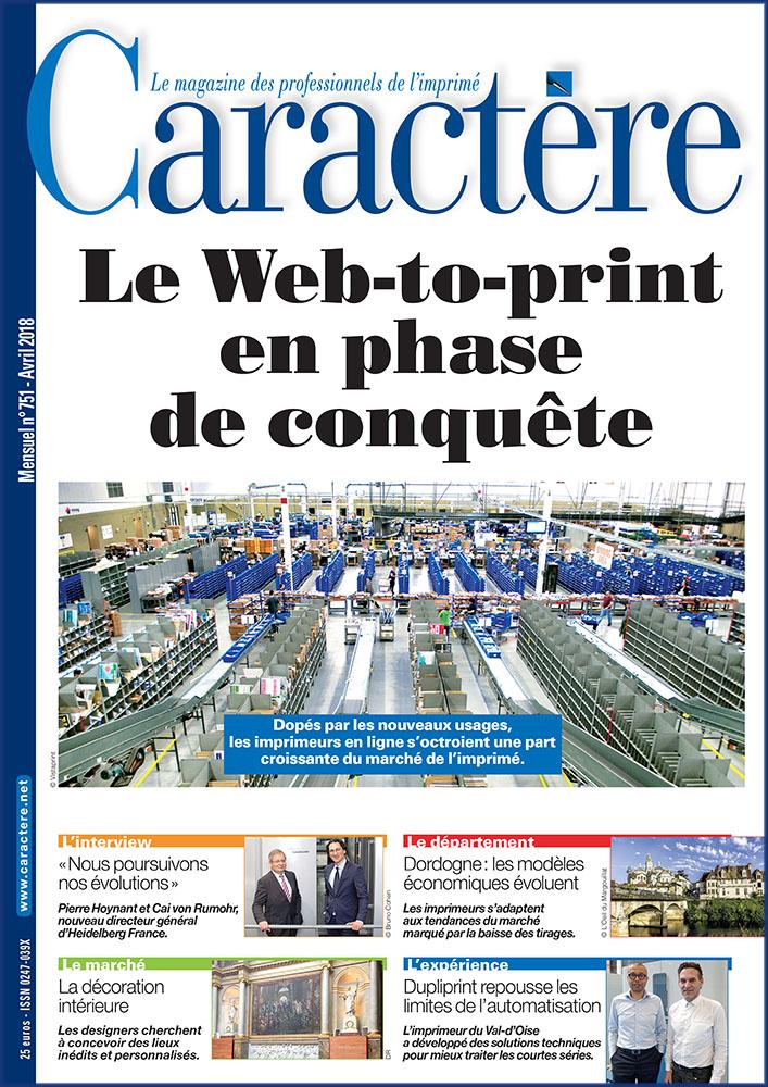 Couverture magazine Caractère avril 2018, dossier spécial sur le web to print