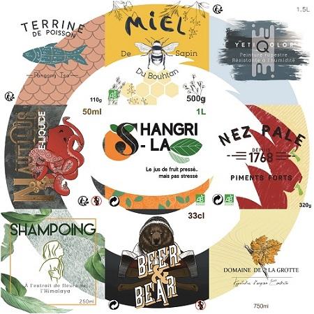 Logo Yetiq formé avec 9 visuels d'étiquettes différent