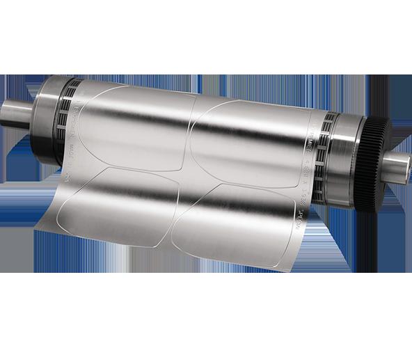 Plaque flexible utilisée pour la découpe des étiquettes adhésives en rouleaux sur Yetiq, solution pour les professionnels des arts graphiques