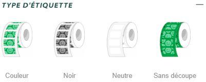 Onglet type d'étiquettes couleur pour le site d'étiquettes adhésives en rouleaux Yetiq.pro