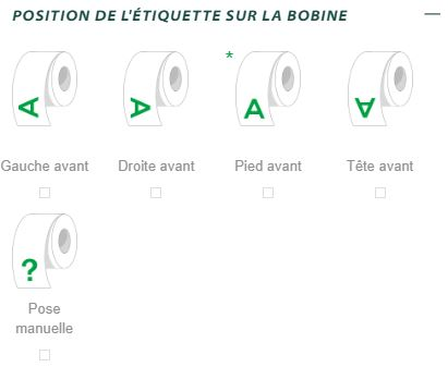 Position de l'étiquette sur la bobine formulaire de devis Yetiq.pro